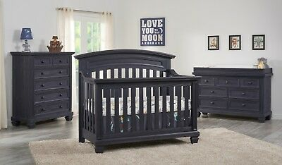 Richmond Brushed Steel Gray 4 in 1 Convertible Crib