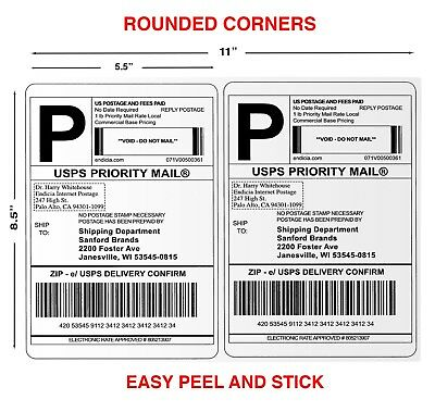 "100 Paypal Shipping Postage Labels/ 2 Labels to Page 8.5x5.5 with ""Round"" Edges"