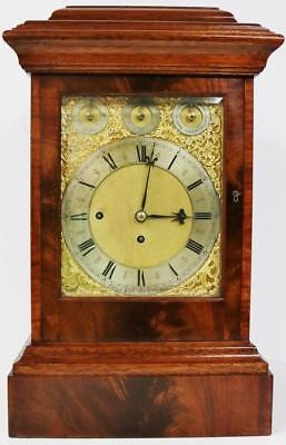 Antique English Flame Mahogany Triple Fusee Musical 8 Bell 5 Gong Bracket Clock