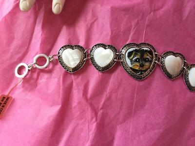 Wonderful Miniature Of The Yorkie Puppy Hand Painted Bracelet