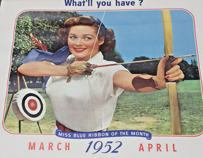 1952 Pabst Archery Girl March/April Large Lithograph Calendar Sheet Blue Ribbon
