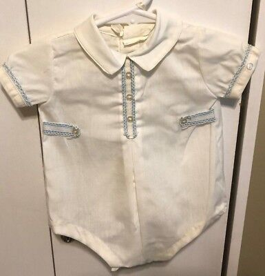 Vintage Size 0-3M White with Blue Trim Shortall with Matching Hat