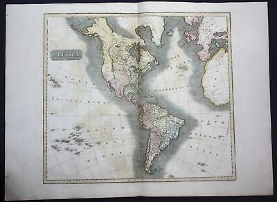 1817 America North South continent Amerika map Karte Thomson Kupferstich