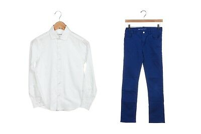 GAP Blue Skinny Jeans 14 CALVIN KLEIN White Button Up Shirt Size 12 Boy's Outfit