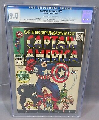 CAPTAIN AMERICA #100 (1st Issue, Black Panther app) CGC 9.0 Marvel Comics 1968