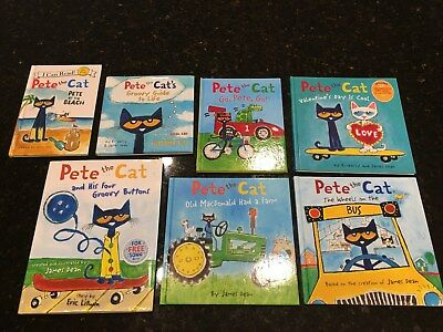 LOT OF 7 Pete the Cat Hardcover Books groovy buttons bus beach ...