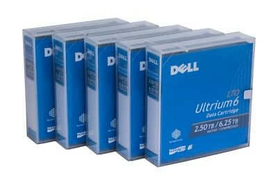 5 x New Dell Ultrium 6 LTO-6 Backup Data Tape Cartridge 2.5TB/ 6.25TB LTO6 3W22T
