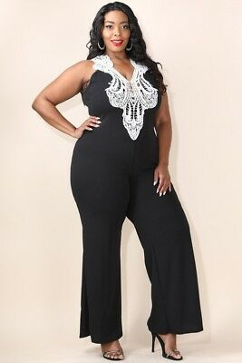 22c887c9508 Plus Size Crochet Deep V Neck Straight Leg Sleeveless Jumpsuit Catsuit 1X  2X 3X