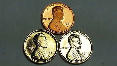 1981 S Proof Lincoln Cent T-1 Clear S Deep Cameo + (2) 24K Gold PL Lincoln Wheat