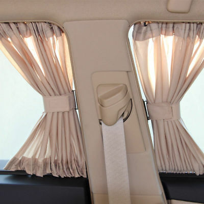 2Pcs Luxury Beige VIP Car Van SUV Window Curtain UV Sunshade Visor Kit Universal