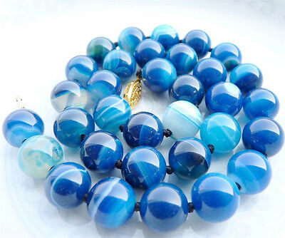 Art 10Mm Antique  Deco Genuine Rare Blue Chalcedony Agate Beads Necklace Aa
