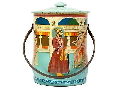 FREE SHIP: Vintage Asian India Themed Tea Caddy - House of Confectionery Tin