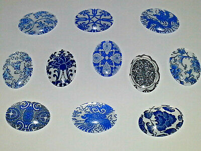 25x18MM Blue & White Floral Mixed Glass Cabochons Dome Flatback Oval NEW 5PC.