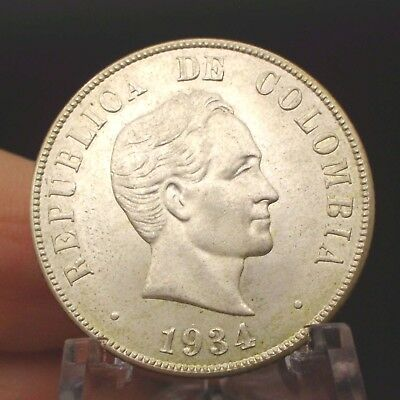 1934 Colombia 50 Centavos.  ATTRACTIVE - WITH LUSTER