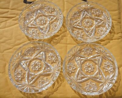 Coasters Lead Crystal 8 Point Star Pattern Set of 4 Vintage