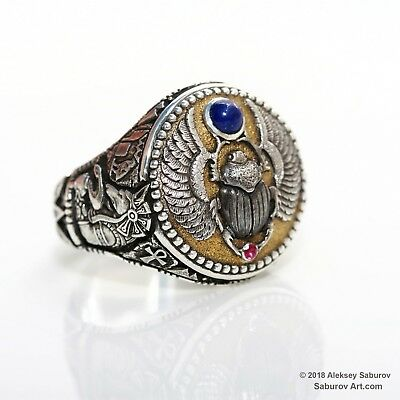 Sterling silver Ancient Egyptian Scarab Beetle ring by Aleksey Saburov