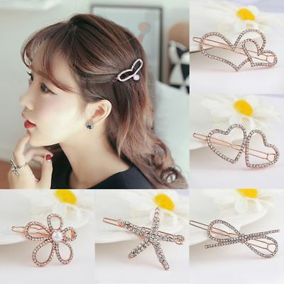 Women's Shiny Rhinestone Hair Clip Girls Crystal Hairpin Barrette Headwear Claws