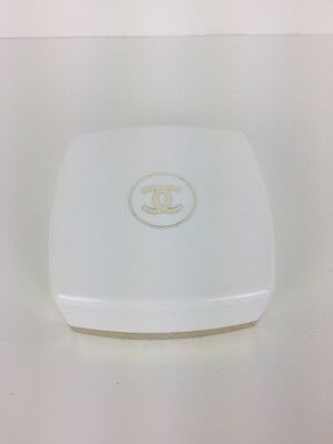 Vintage Chanel No 5 Bath Powder 2 oz Square White with Gold Puff/Product Inside