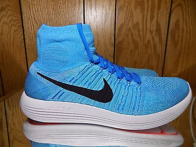 info for 18b3d 5abb6 Nike Lunarepic Flyknit Black White Photo Baby Blue 818676 014 Men s Size 14