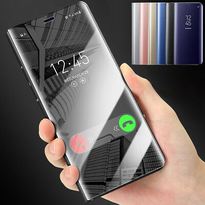 For LG V40 V30 Plus G5 G6 Mirror Clear View Slim Leather Wallet Flip Case Cover