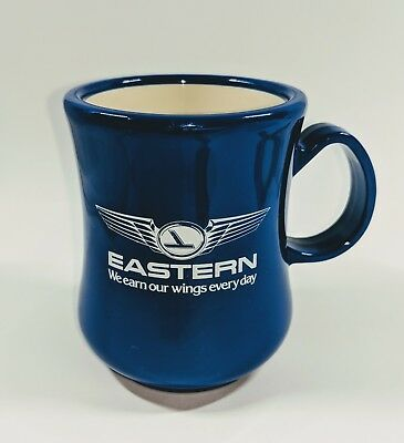 Vintage EASTERN AIRLINES & Maxwell House Advertising Coffee Mug Cup Blue White