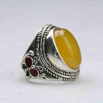 Exquisite Tibet Silver Inlaid Beeswax Handwork National Fashion Ring
