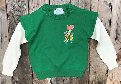 Vintage Girl's Toddler Size 3 Sweater Green Embroidered Bicycle 50s 60s 70s ?