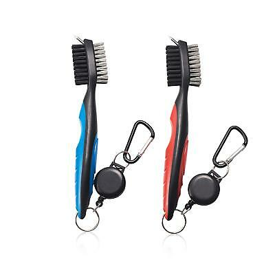 2-Pack Golf Club Brush Groove Cleaner with Zip-line Easily Attaches to Golf Bag