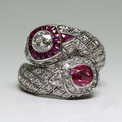 Antique Art Deco 925 Silver White Sapphire Ruby Gem Ring Women Bridal Jewelry