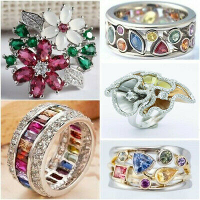 Fashion Silver Plated Multi-Color Sapphire Gem Ring Women Bridal Jewelry Sz 6-10