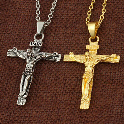 Jesus Christ Cross Crucifix Easter Pendant Silver Gold Necklace Alloy Chain Gift