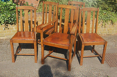Arts & Crafts dining chairs,solid oak,leather,victorian,edwardian,vintage