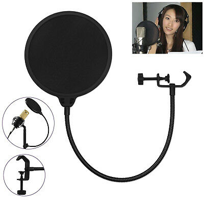 NEW Double Layer Flexible Studio Microphone Wind Screen Pop Filter Mask Shied