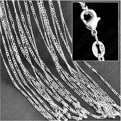 2/4/6/8/10MM 925 Sterling Silver Plated Chain Women Men Figaro Necklace Link