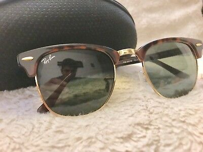 7a39294a60 0e68c b35e0  real ray ban clubmaster tortoise sunglasses rb3016 w0366 g 15  lens 49mm made in italy 969f1