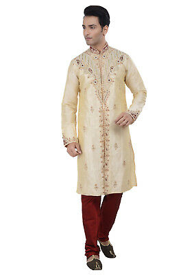 Indian Designer Bollywood Gold Men Kurta Sherwani 2pc Suit - Worldwide Postage