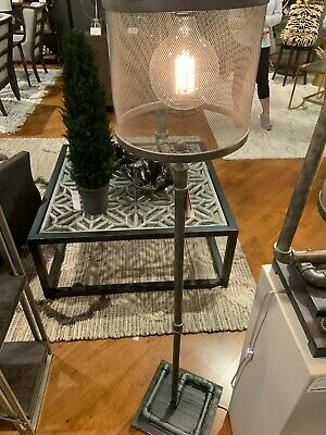 Farmhouse Industrial Metal Galvanized Pipe Floor Lamp Iron Mesh Shade Light