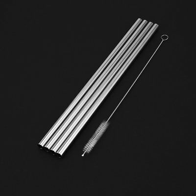 4pcs Reusable Straight Stainless Steel Straws Set Metal Straw Drinking Straw TY