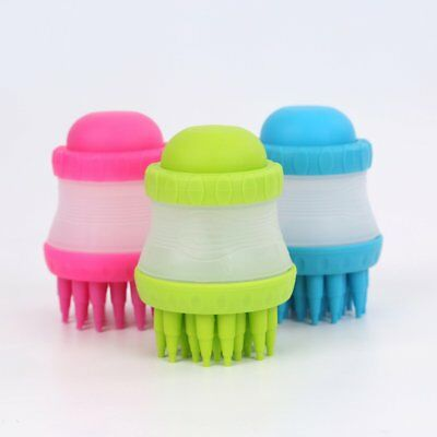 Pets Scrub Buster Soft Silicone Dog Washing Brush With Shampoo Reservoir TY