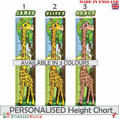 Personalised Childrens HEIGHT CHART Measure Wall Sticker Growth Giraffe decals