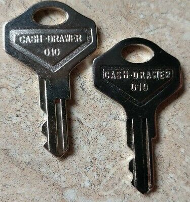 Pair of 010 Cash Drawer Keys That Fit Locks 010R or 010L for Register / Till