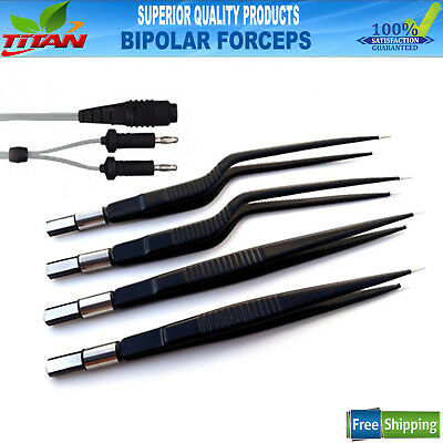 Bipolar Forceps Reusable Electrosurgical Instrument With 4MM 2 Pin Silicon Cord