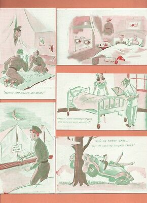 MUTOSCOPE  SPOOF/humorous/COMICAL  COMPLETE MILITARY WWII (32/32) Postcard Set !