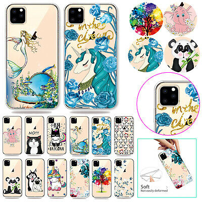 Cute Pattern Soft Clear Rubber Shockproof Case Cover For iPhone X 8 Plus 7 6s 5s