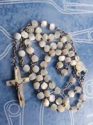 Antique French Mother of Pearl Rosary - With Round Beads