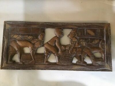 Antique Antigua And Barbuda 20Th Century Hand Carved Story Board