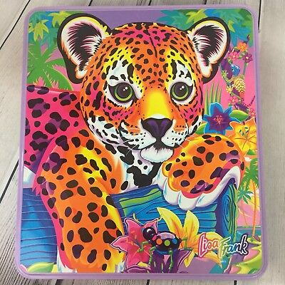 Vintage Lisa Frank Hunter Leopard Collector Tin Bead Jewelry Craft Kit Set 12x11