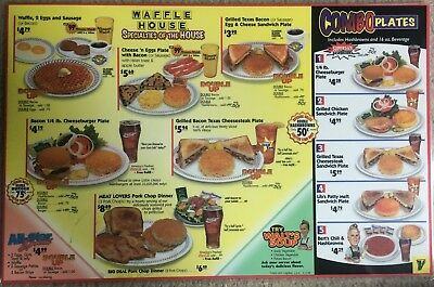 WAFFLE HOUSE MENU PLACEMAT 2003:  2 Sided