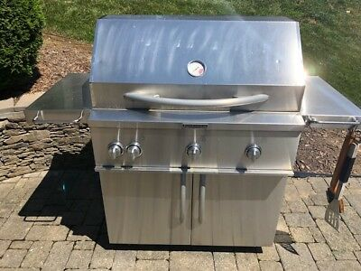Propane Gas Grill Stainless Steel 4 Burner Kitchenaid Grill Used