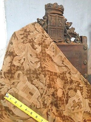 Lg 1800'S Medieval Revival Fabric Hand Loom Jacquart Panel Lion Tower Griffin